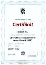 Certifikát cenové soustavy ÚRS 2009/I
